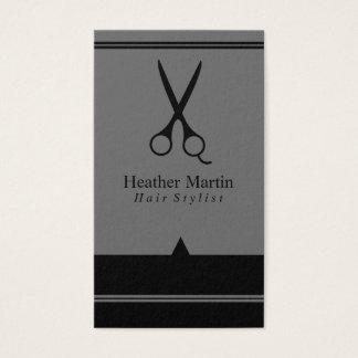 Möte kort för salonghårstylist i grått