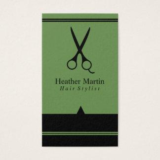 Möte kort för salonghårstylist i grönt