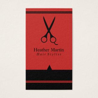 Möte kort för salonghårstylist i rött