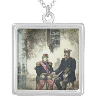 Möte mellan Otto von Bismarck och Napoleon Silverpläterat Halsband