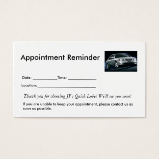 Möte påminnelser visitkort