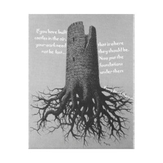 Motivational affischThoreau slott i luften Canvastryck