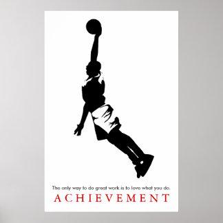 Motivational basket för svart vitprestation poster