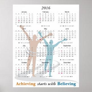 Motivational kalender 2016 för maratonspringer poster