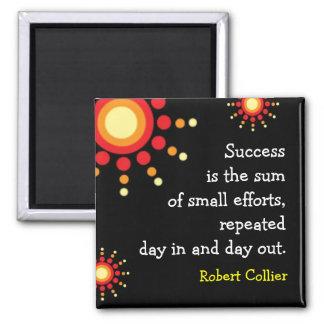 Motivational svart magnet för framgångQuotation
