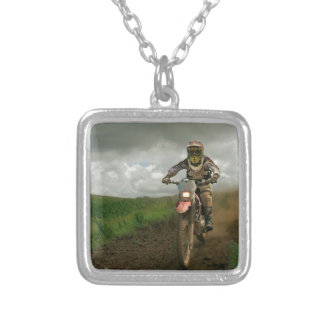 Motocrossbiker Silverpläterat Halsband