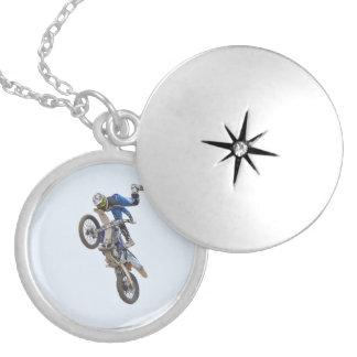 Motocrossytterlighettrick Silverpläterat Halsband