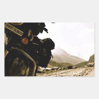 Motorcycling i Ladakh Rektangulärt Klistermärke