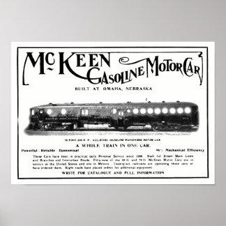Motoriska bilar 1911 för McKeen bensin Poster