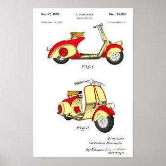 Motoriskt cykelpatent Circa 1949 - rött Poster