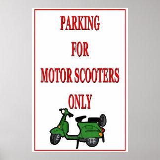 Motoriskt parkera för sparkcykel poster