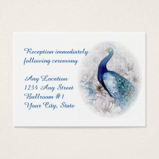 Mottagande för bröllop för blåttpåfågelvattenfärg visitkort