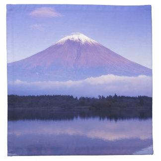 Mount Fuji med det linsformade molnet, Motosu sjö, Tygservett