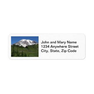 Mount Rainier fotoreturetiketter Returadress Etikett