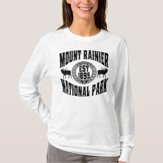 Mount Rainier gammal stilsvart Tee Shirt
