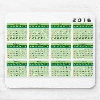 Mousepad för 2016 kalender enkel grönt mus matta