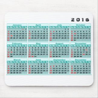Mousepad för 2016 kalender enkel turkos mus matta