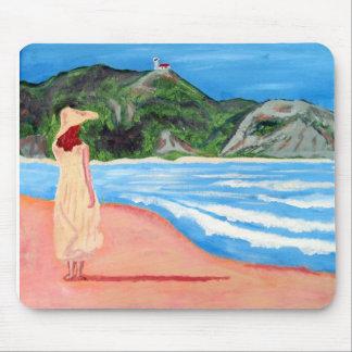 Mousepad med målning av damen på strand musmatta