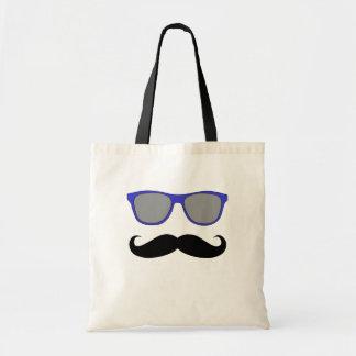 Moustache- och blåttsolglasögonhumor tygkasse