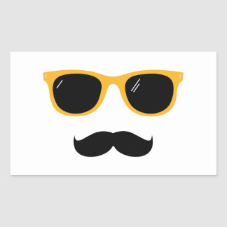 Moustache Rektangulärt Klistermärke
