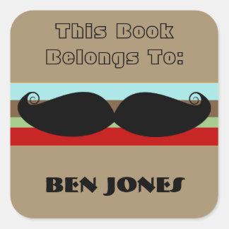 Moustachen kvadrerar klistermärkear fyrkantigt klistermärke