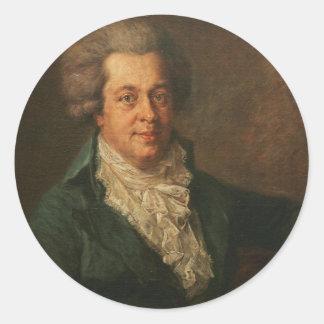 Mozart porträtt runt klistermärke