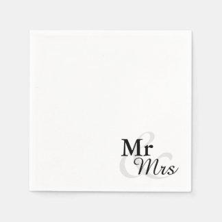 Mr&Mrs enkelt elegantt typografibröllop Servett