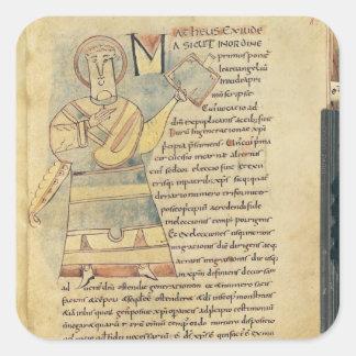 Ms 18 f.8 St Matthew evangelisten Fyrkantigt Klistermärke