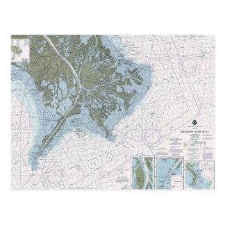 Ms för Mississippi River deltaLA kartlägger Vykort
