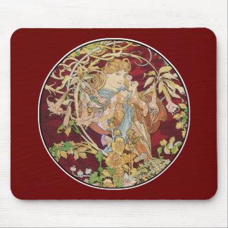 Mucha art nouveau: Kvinna med daisyn Mus Matta