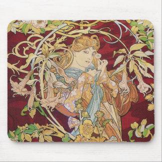 Mucha art nouveau: Kvinna med daisyn Musmatta