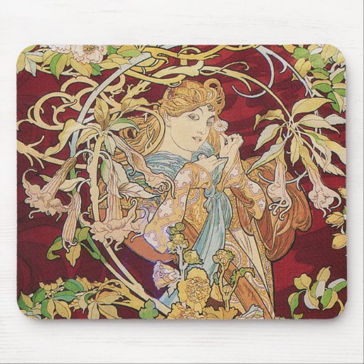 Mucha art nouveau: Kvinna med daisyn Mus Mattor