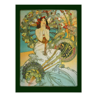 Mucha art nouveau Monte - carlo affisch Poster