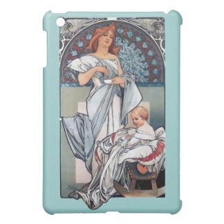 Mucha hoade gåvan för vintage för chokladmorbebise iPad mini fodral