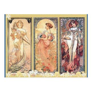 Mucha ~-panel av tre vykort