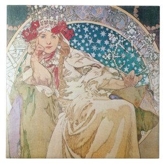 Mucha Princess Hyacint Belägga med tegel Trivet Kakelplatta