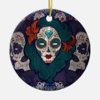 Muerto damer julgransprydnad keramik