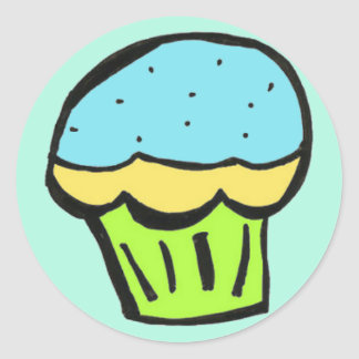 muffinblåttklistermärke runt klistermärke