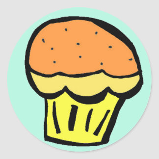muffinorangeklistermärke runda klistermärken