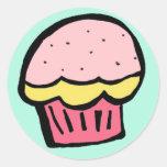 muffinrosaklistermärke rund klistermärke