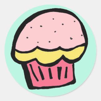 muffinrosaklistermärke runt klistermärke