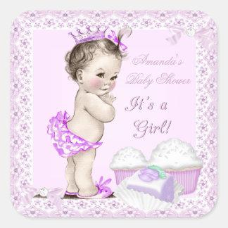 Muffins för söt för vintagebaby showerflicka fyrkantigt klistermärke