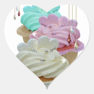 Muffins med Bling! Hjärtformat Klistermärke