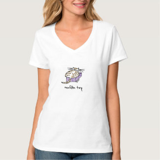 MuffinTop Cat V-Nacke T-tröja T Shirts