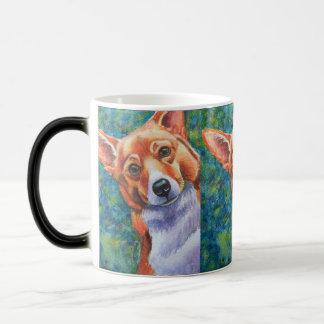 Mug. för nyfiken hund för Corgi Morphing Magisk Mugg