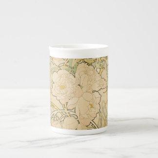 Mugg för Alphonse Mucha blommönsterchina Tekopp