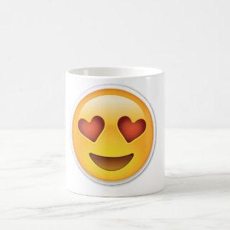 Mugg för ansikte för Emoji kärlekhjärta