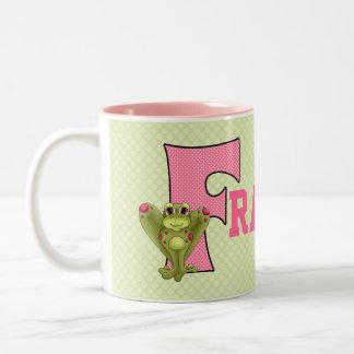 """Mugg för barn för rosa- och gröntMonogram """"F"""""""
