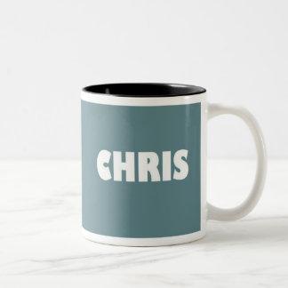 mugg för Blått-grå färg Chris namn