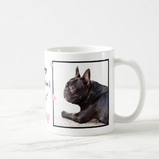 Mugg för bulldogg för lyckliga valentin dag fransk